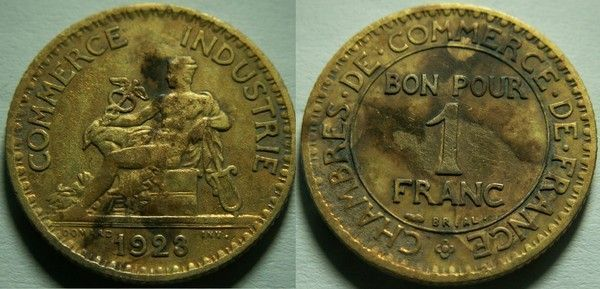 Chambre de commerce bon pour 1 franc 1923 for Chambre de commerce de france bon pour 2 francs 1923