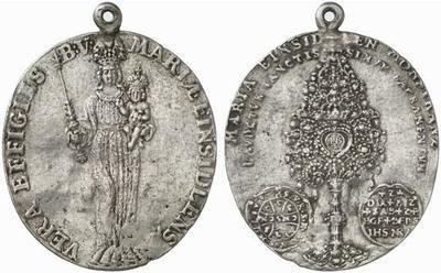 fragment d'une grosse médaille de notre dame d'Einsiedeln XVIIIèm Einsiedeln_ostensoir