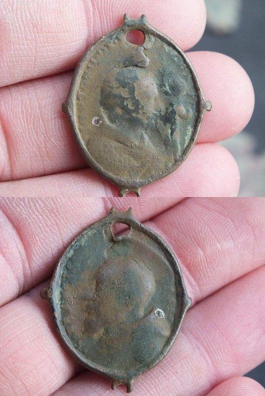 Médaille de chapelet à double bélière - St-Antoine de Padoue/François de Sales - XVIIème  Fb1ed8fd
