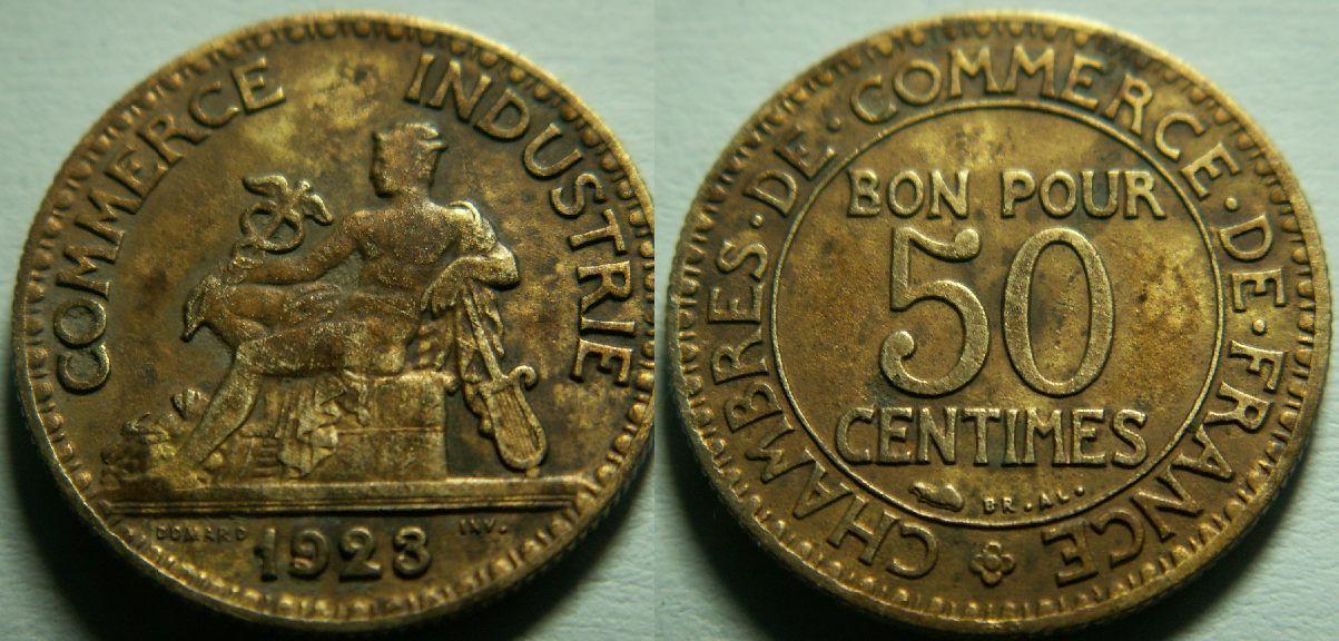 Chambre de commerce bon pour 50 centimes 1923 for Chambre de commerce de france