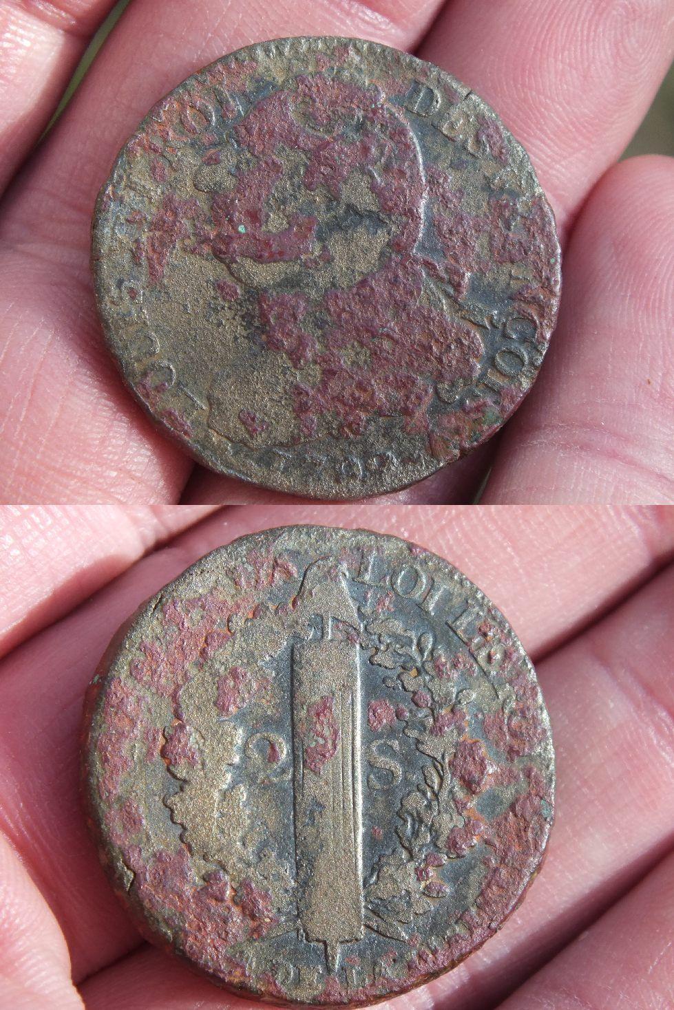 2 sol louis xvi 1792 type fran ois - Sol en piece de monnaie ...
