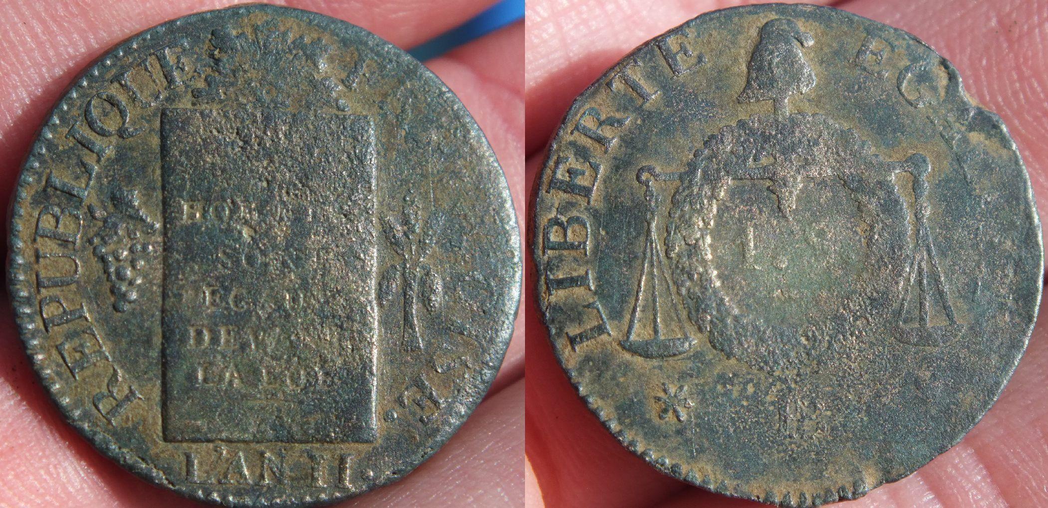 Pi ce de un sol dite la balance l 39 an ii 1793 1794 - Sol en piece de monnaie ...