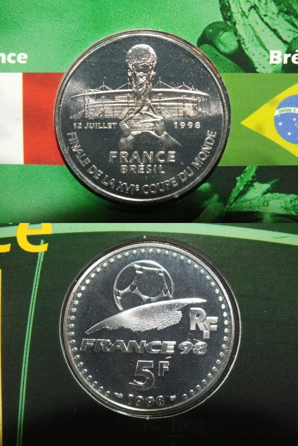 5 francs en argent victoire la coupe du monde 1998 - Victoire de la coupe du monde 1998 ...